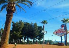 Backside of Las Vegas road sign. Back side of iconic Las Vegas road sign on one way road Royalty Free Stock Image