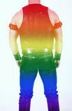 Backside of leatherman with rainbow colors for gay pride Stock Images