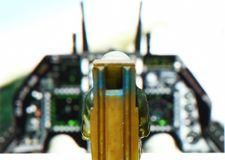 Backside of miniature model figure of airforce pilot scene. Royalty Free Stock Images
