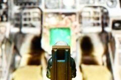 Backside of miniature model figure of airforce pilot scene. Stock Images