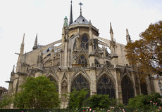Backside of Notre Dame Cathedral and Buttresses Stock Photos
