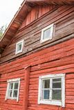 Backside of an Old Farmer's House in Sweden. Showing Off Large Beams and Wooden Details Stock Image