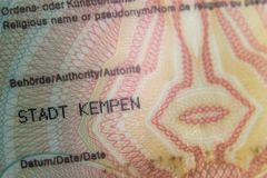 Backside of an older german identity card issued in the city Kempen stock photo