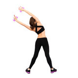 Backside photo of sports woman on fitness Royalty Free Stock Image