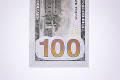 Backside of single one hundred dollar bill. On white royalty free stock photography