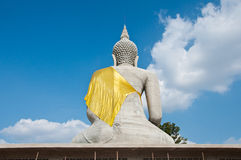 Backside of Sitting buddha in Thailand Stock Photo