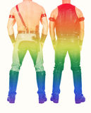 Backside of two leathermen with rainbow colors for gay pride Royalty Free Stock Image