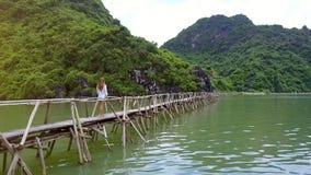 Backside View Drone Follows Girl Walking on Bridge across Bay stock video