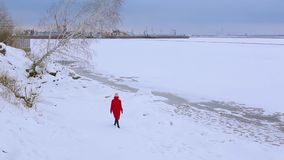 Backside view young woman in red long jacket walks on snow-covered bank of river with crooked growing birch stock video footage