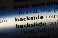Backside. Word in a dictionary.  concept Royalty Free Stock Photography