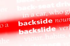 Backside. Word in a dictionary.  concept Stock Photos