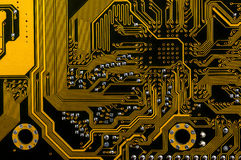 Backside yellow motherboard Royalty Free Stock Image