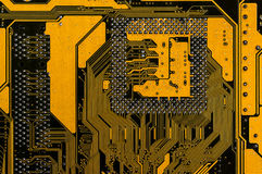 Backside yellow motherboard Royalty Free Stock Photo