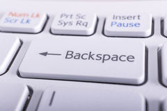 Backspace Key. Extreme closeup of the backspace key of a nice pearl creamy white keyboard royalty free stock images