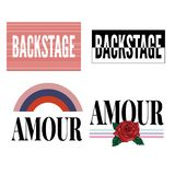 Backstage Amour slogan modern Fashion Slogan for T-shirt graphic vector Print. Set illustration design tee girl text apparel beautiful card drawing feminine stock illustration