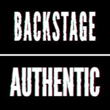 Backstage Authentic slogan, Holographic and glitch typography, tee shirt graphic, printed design. Backstage Authentic slogan, Holographic and glitch typography stock illustration
