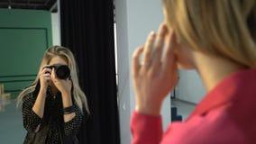 Backstage fashion photographer work art profession stock footage