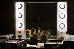 Backstage mirror and make up set Stock Images