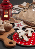 Backstage with mushrooms and red lantern Stock Image