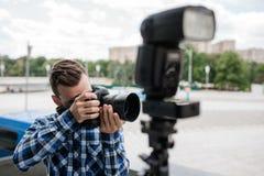 Backstage photography equipment camera flash Stock Image