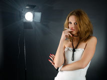 Backstage portrait. Of young woman with cigarette Stock Photography
