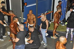 Backstage scenery of a bodybuilding and fitness contest Stock Image