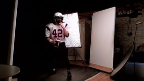 Backstage, shooting american football, shooting american football player for a sports magazine