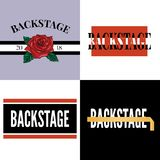 Backstage slogan modern Fashion Slogan for T-shirt graphic vector Print. Set illustration design tee girl text apparel beautiful card drawing feminine grunge royalty free illustration
