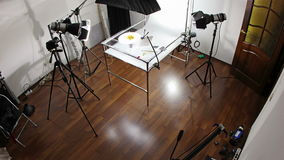 Backstage of studio video shooting, time-lapse 2 stock video footage