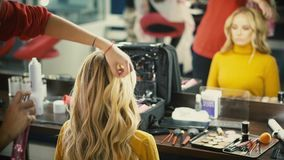 Backstage of working make up artist. stock footage
