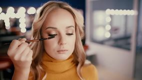 Backstage of working make up artist. stock video footage