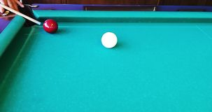 Russian billiards. Interesting beats. Backstay. Outhaul. To pull off. Blow in Russian billiards when your `own` ball after a collision with a `stranger` spins stock video footage