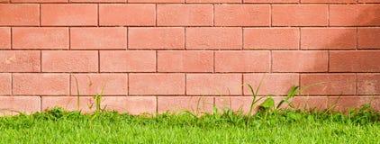 Backsteinmauer auf dem grünen Feld Lizenzfreies Stockbild