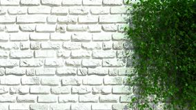 Backsteinmauer mit grünem Zaun Stockbilder