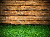 Backsteinmauer und grünes Gras Lizenzfreie Stockbilder