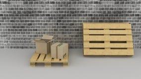 Backsteinmauerhintergrund mit Pappschachteln und Paletten Lizenzfreies Stockfoto