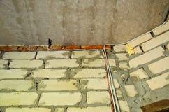 Backsteinmauern in einem Haus im Bau Lizenzfreies Stockfoto