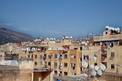 Backstreet大气在老王国城市Fes在摩洛哥,非洲 库存图片