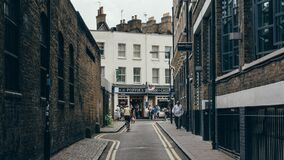 Backstreet Alley with Shops Stock Photos