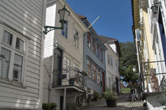 Backstreet in Bergen, Norway. Old wooden houses Royalty Free Stock Images