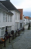 Backstreet in Bergen, Norway. Wooden houses Royalty Free Stock Images