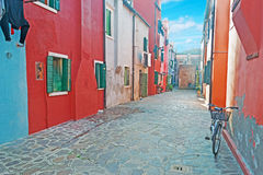 Backstreet in Burano Royalty Free Stock Photography
