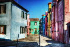 Backstreet in Burano, Italy Stock Images