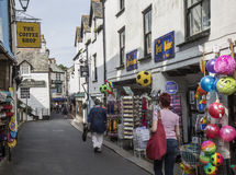 Backstreet at Looe in Cornwall with tourist shops. Stock Photos