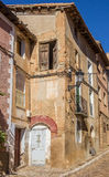 Old house with colorful door in Daroca Stock Images