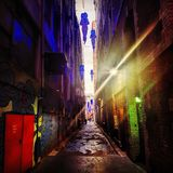 Backstreet Mistroy. Usual backsteet with unusual objects royalty free stock image