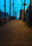 Backstreet, Shawinigan; , Kanada (weiße Schwerpunktversion) Lizenzfreie Stockfotografie