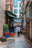 Backstreet típico en Kowloon, Hong Kong Imagen de archivo