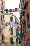 A backstreet in Venice, Italy. Washing on a Backstreet  in Venice, Italy Royalty Free Stock Photography