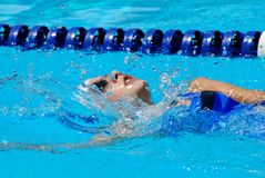 Backstroke girl royalty free stock photo